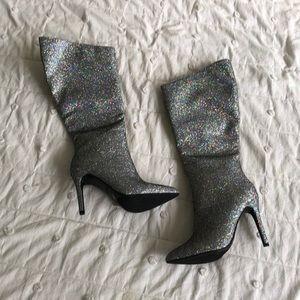 NWOT Miss Lola Iridescent Knee High Boots